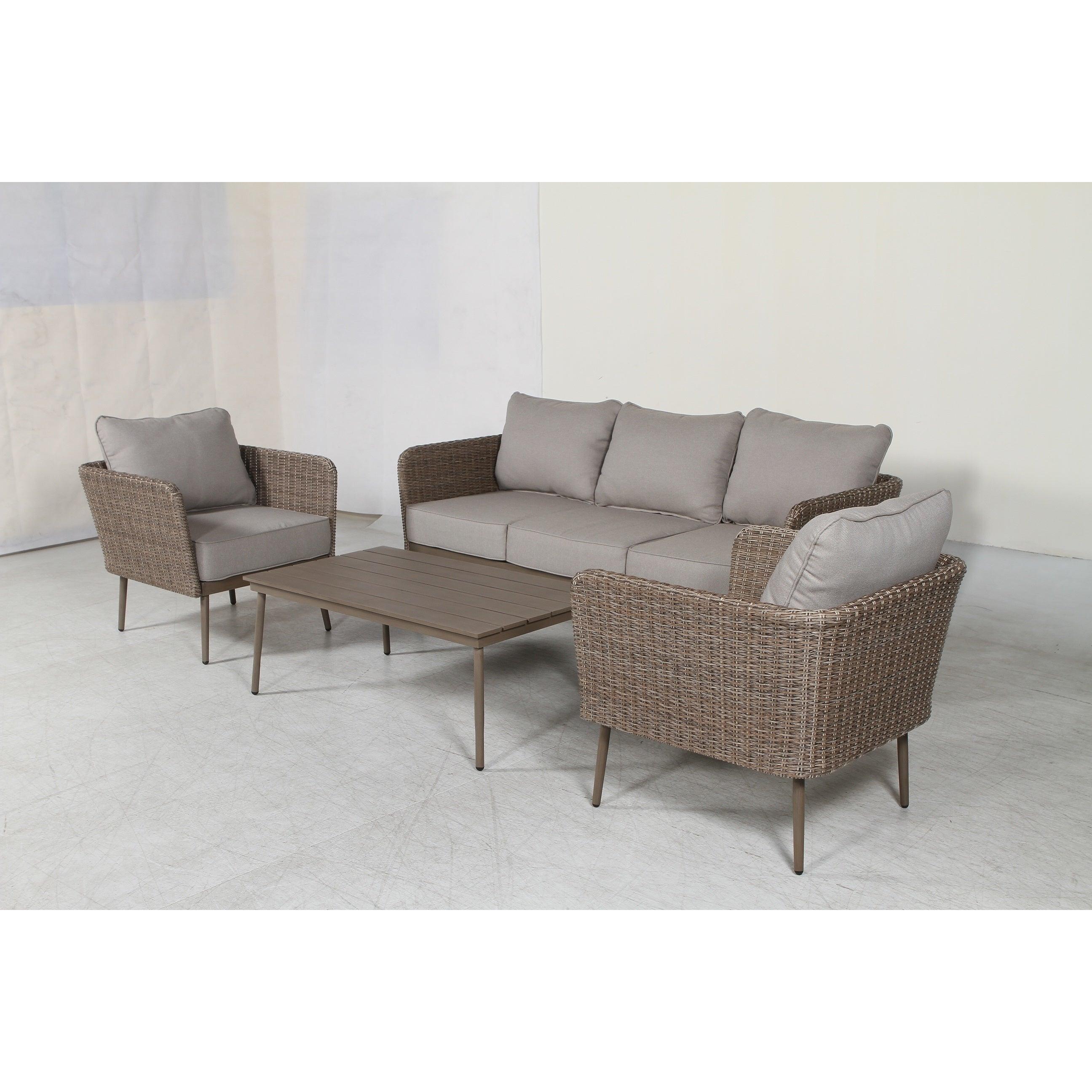 Shop Capri Wicker Patio Sofa Set   Free Shipping Today   Overstock    15857148