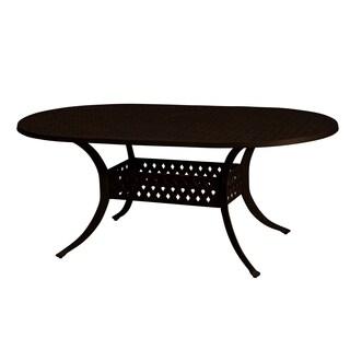 "Lattice Work Antique Bronze Cast Aluminum Oval Dining Table (42"" x 72"")"