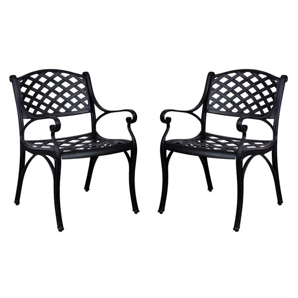 Lattice Work Aluminum Dining Chairs Without Cushions (Set Of 2)