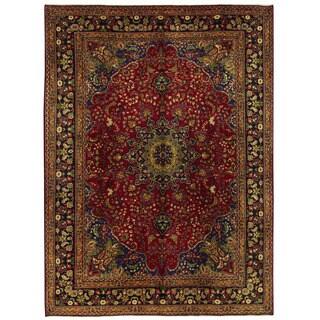 Herat Oriental Persian Hand-knotted Mashad Wool Rug (9'6 x 13')
