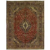 Handmade Herat Oriental Persian Kashan Wool Rug (Iran) - 10' x 13'
