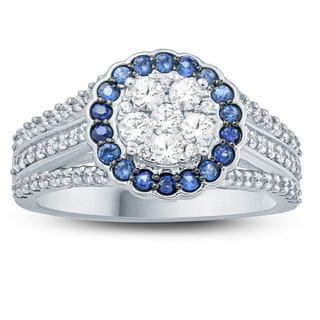 1 Carat Round Natural Blue Sapphire And White Diamond Cluster Engagement Ring In 10K White Gold.