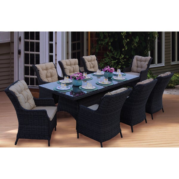 Shop Darlee Valencia Wicker Rectangular 9 Piece Dining Set