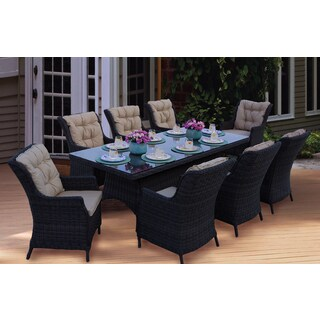Darlee Valencia Wicker Rectangular 9-Piece Dining Set (1 Table and 8 Seats with Cushions)