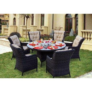 Darlee Valencia Charcoal Wicker 7-Piece Dining Set with Cushions and 60-inch Round Table