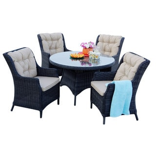 Darlee Valencia Charcoal Wicker 48-inch Round 5-piece Dining Set with Cushions