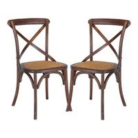 Poly and Bark Cafton Wood and Rattan Crossback Chair  (Set of 2)