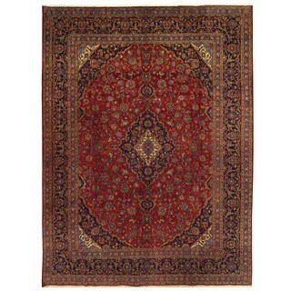 Handmade Herat Oriental Persian Mashad Wool Rug - 9'10 x 13' (Iran)