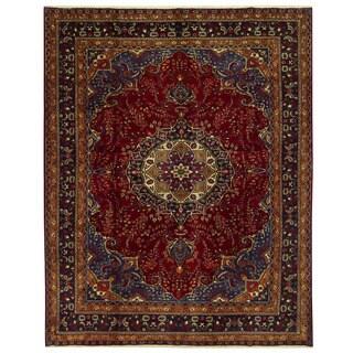Herat Oriental Persian Hand-knotted Mashad Wool Rug (10' x 12'6)