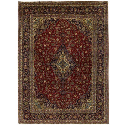 Handmade One-of-a-Kind Kashan Wool Rug (Iran) - 9'10 x 13'6