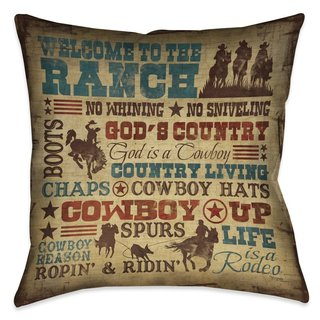 Laural Home Rodeo Words Indoor/Outdoor Decorative Pillow (2 options available)