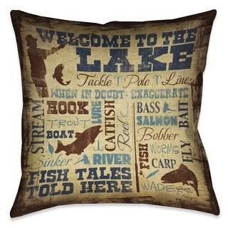 Laural Home Lake Words Indoor/Outdoor Decorative Pillow