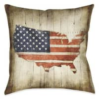 Laural Home Vintage American Flag Indoor- Outdoor Decorative Pillow