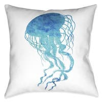 Laural Home Aqua Jellyfish Indoor- Outdoor Decorative Pillow