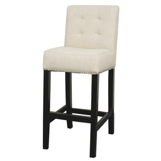 Scott Black Wood and Fabric Bar Stool