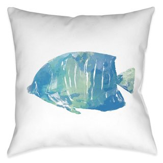 Laural Home Aqua Fish II Indoor- Outdoor Decorative Pillow