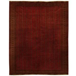 Handmade Herat Oriental Persian 1990s Semi-antique Turkoman Wool Rug - 9'7 x 12' (Iran)