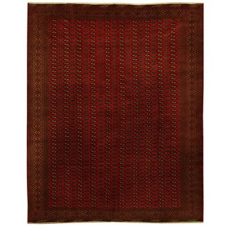 Herat Oriental Persian Hand-knotted 1990s Semi-antique Turkoman Wool Rug - 9'7 x 12'