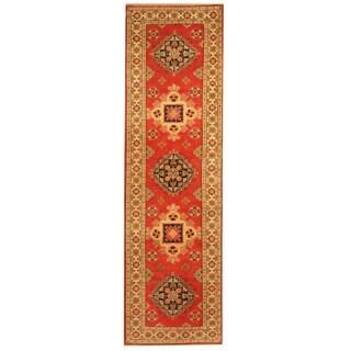 Herat Oriental Afghan Hand-knotted Tribal Kazak Wool Runner (2'8 x 8')