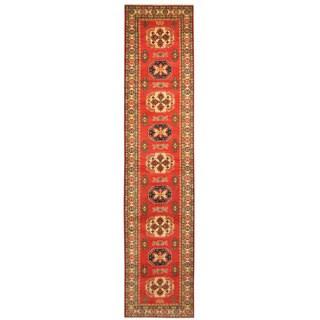 Herat Oriental Afghan Hand-knotted Tribal Kazak Wool Runner (2'8 x 12'8)