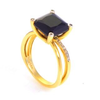 14K Yellow Gold Onyx & Diamond Ring