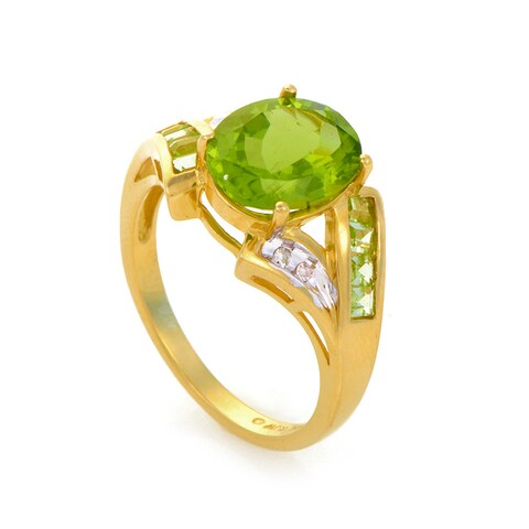 Women's 14K Yellow Gold Diamond & Peridot Ring LP4-01389