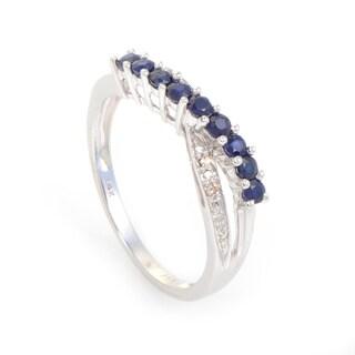 14K White Gold Sapphire & Diamond Ring