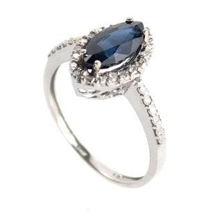 10K White Gold Marquise Cut Sapphire & Diamond Ring