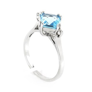 10K White Gold Topaz & Diamond Ring