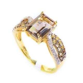 10K Yellow Gold Multi-Diamond & Quartz Ring LQ1-01294