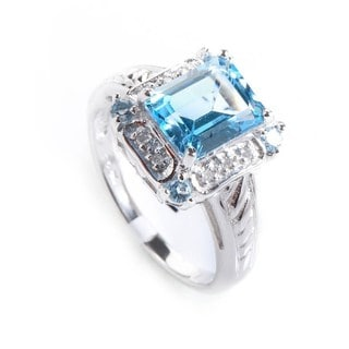 10K White Gold Rectangular Topaz & Diamond Ring