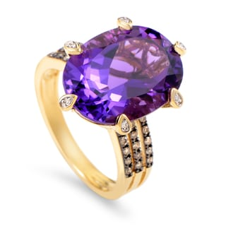 Women's 14K Yellow Gold Diamond & Amethyst Ring RC4-10523YAM