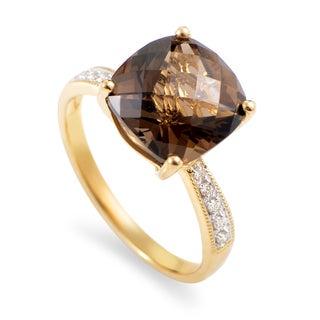 Women's 14K Yellow Gold Diamond & Smoky Quartz Ring RC4-10562YQS