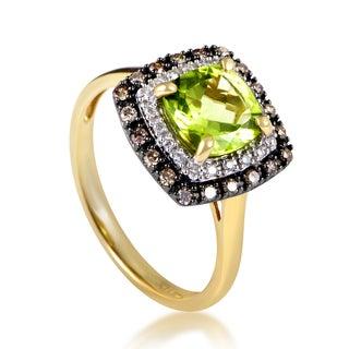 14K Yellow Gold Diamond & Peridot Ring RC4-10513YPE