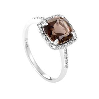 14K White Gold Smoky Topaz & Diamond Ring RC4-10085WSMTPZ