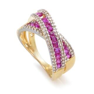 14K Yellow Gold Diamond & Ruby Crossover Band Ring RC4-10035YRU