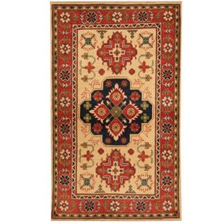 Herat Oriental Afghan Hand-knotted Tribal Kazak Wool Rug (2'10 x 4'11)