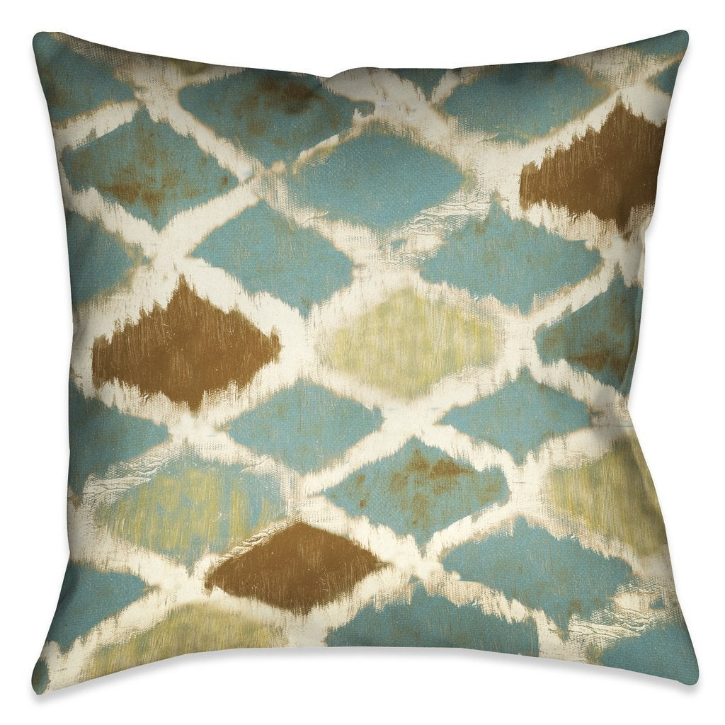 Laural Home Teal Pattern Indoor-Outdoor Decorative Pillow (20X20)