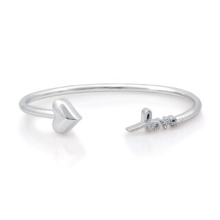Diamond Accent Flexi Heart With Love Bangle In Sterling Silver (I-J, I2/I3)