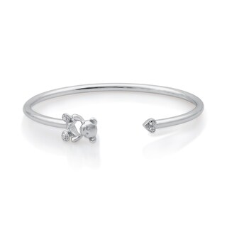 Diamond Accent Flexi Teddy & Heart Bangle in Sterling Silver (I-J, I2/I3)
