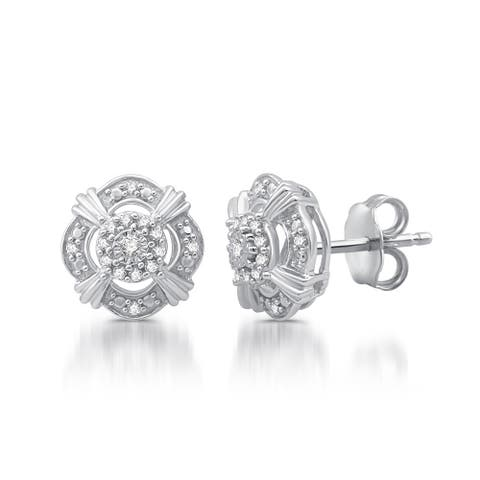 1/6 CTTW Diamond Vintage Style Stud Earrings In Sterling Silver (I-J, I2/I3)