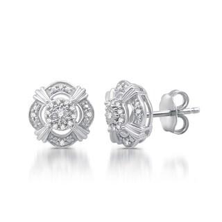 1/6 CTTW Diamond Vintage Style Stud Earrings In Sterling Silver (I-J, I2/I3)