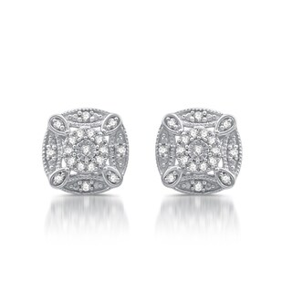 1/6 CTTW Diamond Vintage Cushion Shape Stud Earrings In Sterling Silver (I-J, I2/I3)