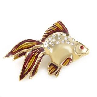 18K Yellow Gold & Diamond Tropical Fish Pin