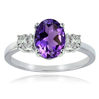 Glitzy Rocks Sterling Silver African Amethyst and Diamond Accent Oval Ring