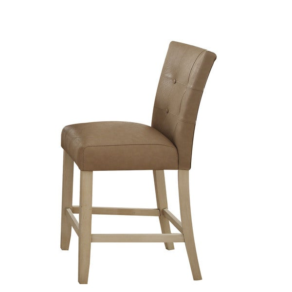 Acme Furniture Faymoor Antique White Cream Wood Faux Leather Counter Height Chair Set Of