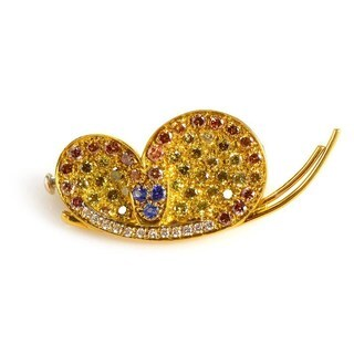 18K Yellow Gold Multi Diamond & Sapphire Butterfly Pin