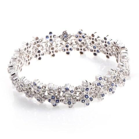 18K White Gold Diamond & Sapphire Bracelet CBD6448
