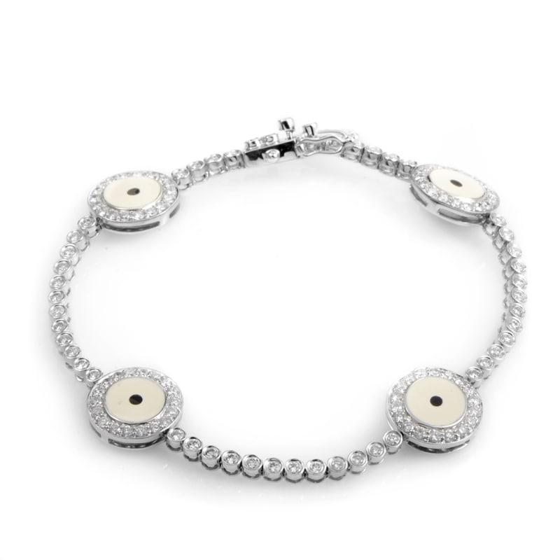 18k White Gold Diamond Evil Eye Bracelet Bt50 5209rbz