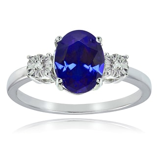 Glitzy Rocks Sterling Silver Created Blue Sapphire and Diamond Accent Oval Ring